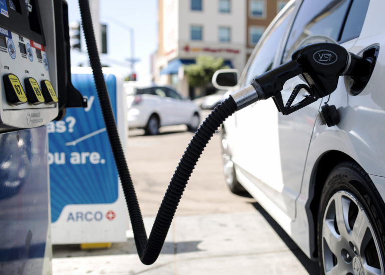 A car is shown at a gas station near the San Diego State University campus on Sept. 5, 2018. <i>(Megan Wood/inewsource)</i>