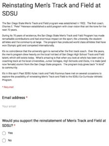 Google Doc charts interest in support of men's track at SDSU.