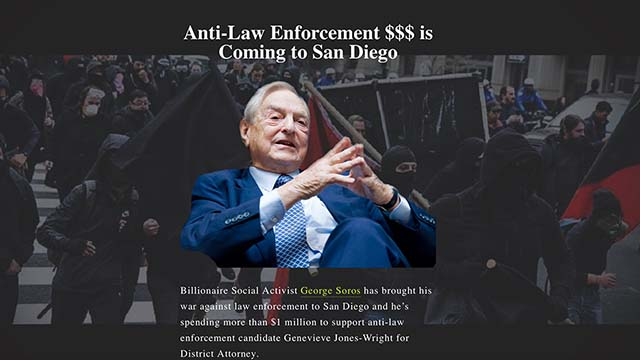 In her campaign against Geneviéve Jones-Wright, District Attorney paid for a website that highlighted attacks on Jewish billionaire George Soros.