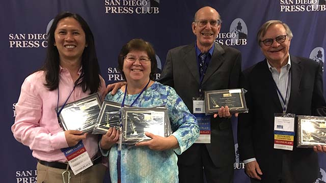 Times of San Diego award winners included (from left) Alexander Nguyen, Chris Stone, Ken Stone and Chris Jennewein.