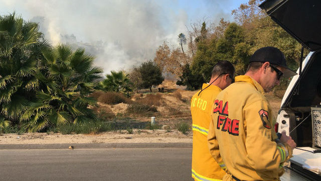 Cal Fire personnel at a brush fire