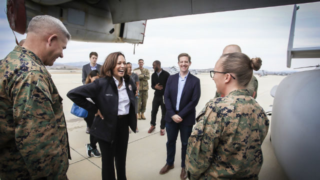 Kamala Harris and Mike Levin at Camp Pendleton