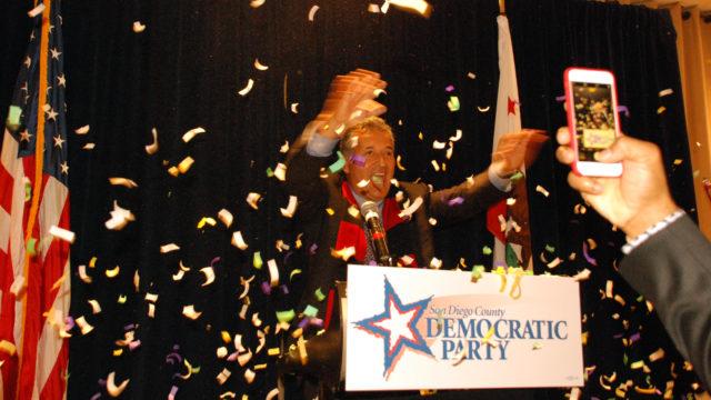 Juan Vargas with confetti