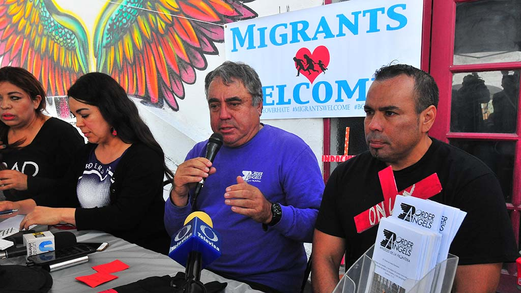 At a press conference (left to right) Gaba Cortez, Sara Gurling, Enrique Morones and Hugo Castro spoke in Tijuana.