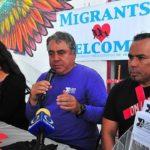 At a press conference (left to right) Gaba Cortez, Sara Gurling, Enrique Morones and Hugo Castro speak in Tijuana.