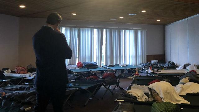Gavin Newsom at immigration shelter