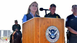 Kirsten Nielsen, Homeland Security Secretary, speaks about the Trump Administrations efforts to stop migrants from crossing the border.