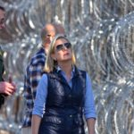 Kirstjen Nielsen inspects concertina wire at border