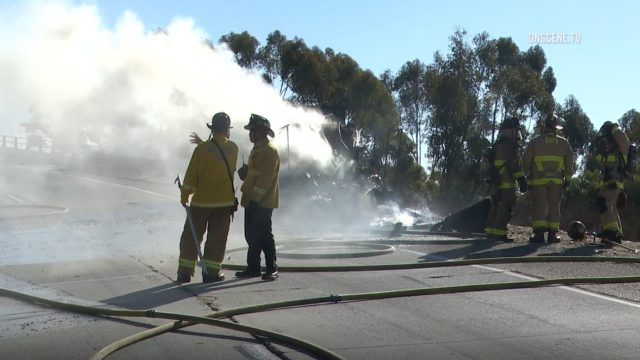 Firefighters at the scene of the brush fire on I-805