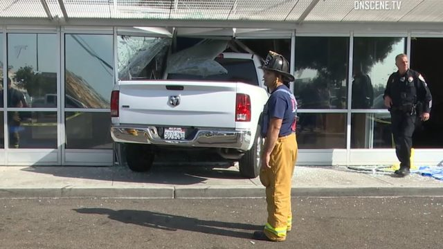 The pickup that crashed into the bank