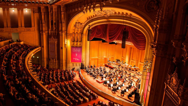 San Diego Symphony Orchestra performing in symphony hall