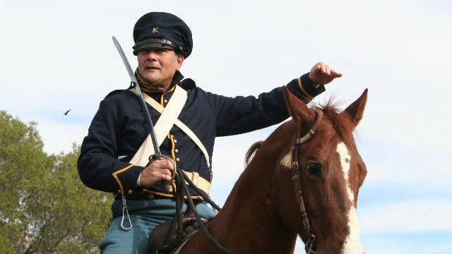 Volunteer in historic Army uniform