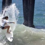 Malia Manuel during 2015 surf competition at Oceanside Pier.
