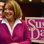 Rep. Susan Davis celebrates her victory at Golden Hall.