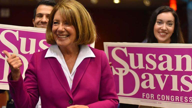 Rep. Susan Davis celebrates her victory at Golden Hall.
