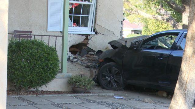 crash into house