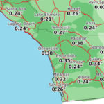Map shows forecast rainfall amounts Wednesday afternoon through Thursday afternoon