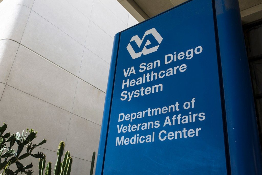 A sign at the San Diego VA Medical Center is shown on Nov. 2, 2018.