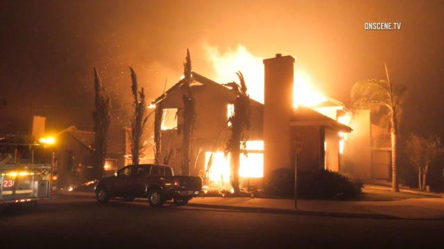 Homes burn in Ventura County