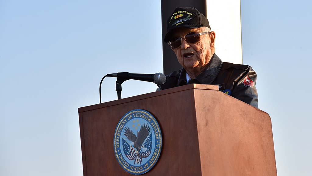 Retired Brig. Gen. Robert Cardenas spoke of his military career at a ceremony commemorating the 100th anniversary of end of WWI at Miramar National Cemetery on Veterans Day.