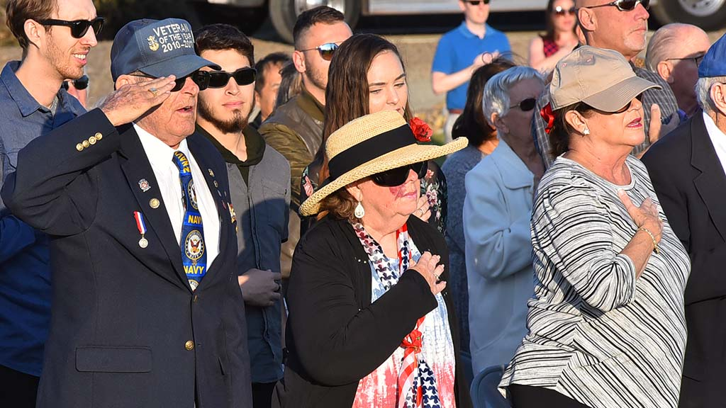 More than 100 people attended a Veterans Day ceremony at Miramar National Cemetery on Sunday.