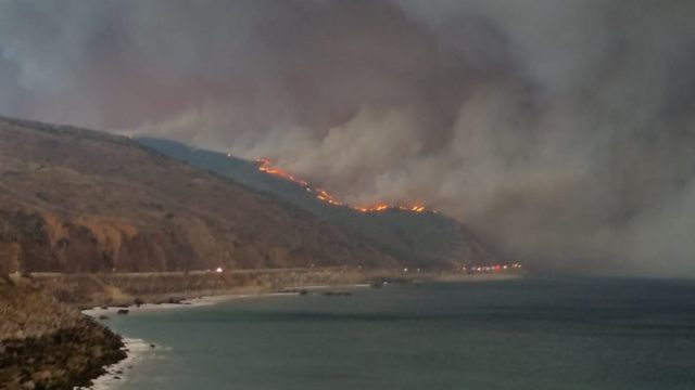 Woolsey Fire burns near Pacific Coast Highway
