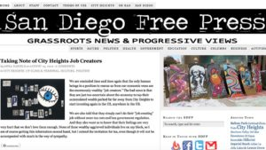 San Diego Free Press homepage from August 2012.