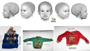 Artist's rendering of Baby Doe, whose body was found in Rancho Bernardo, plus articles of clothing worn in 2004.