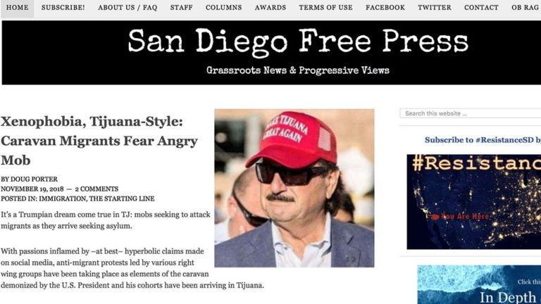 Image from Nov. 19., 2018, homepage of San Diego Free Press.