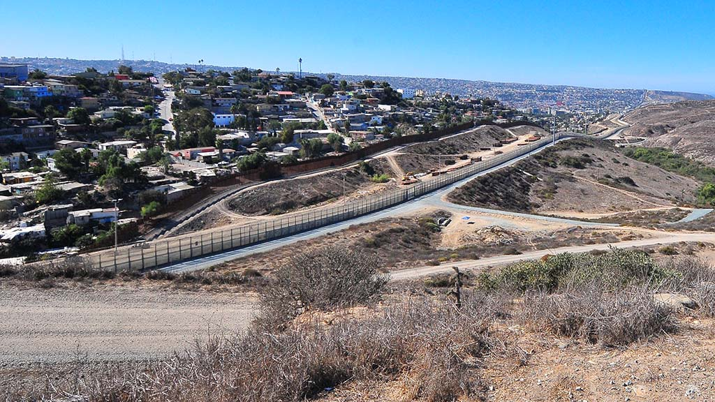 View of Tijuana across the border's two U.S. fences from Arnie's Point in Otay Mesa.