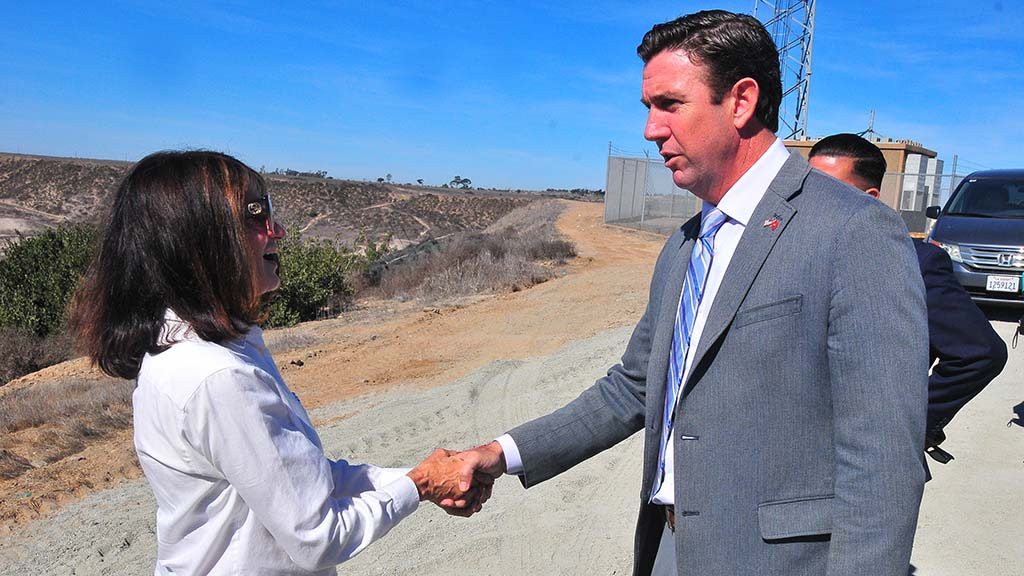 Rep. Duncan Hunter greets 49th Congressional District candidate Diane Harkey before press conference.