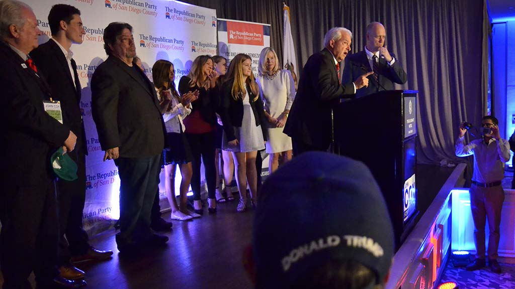 With his family behind him, Rancho Santa Fe's John Cox says his presence in the governor race helped fuel GOP turnout in California.