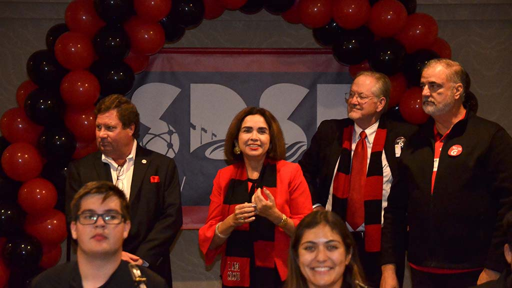 New SDSU President Adela de la Torre savors the moment at rally celebrating victory of Measure G.