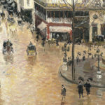 "A detail of Camille Pissarro's ""Rue Saint-Honore: Afternoon, Rain Effect."""