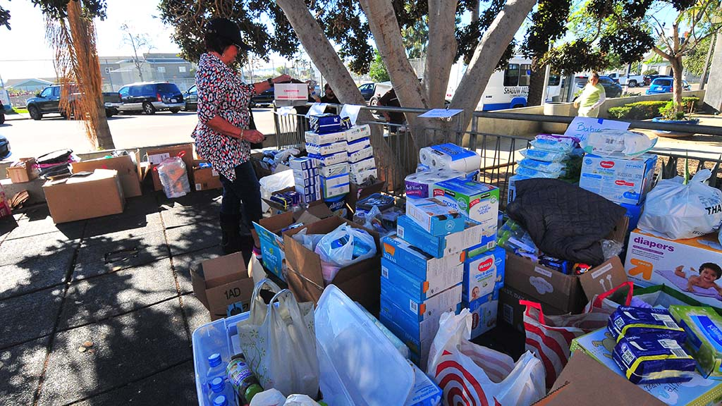 Donations including food, toiletries, tarps, underwear and toys were dropped off at the Border Angels office in Sherman Heights to be distributed to migrants in Tijuana.