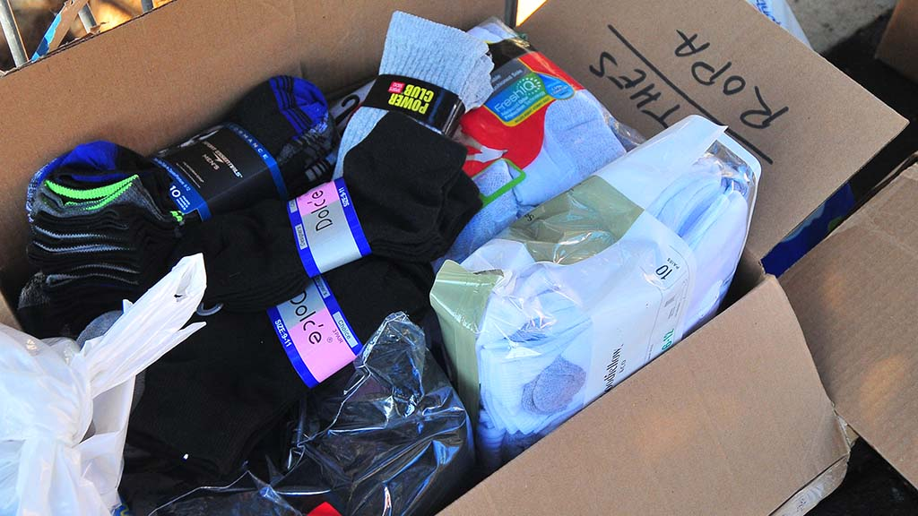 Socks, underwear, including bras for men, women and children are especially needed by the migrants.