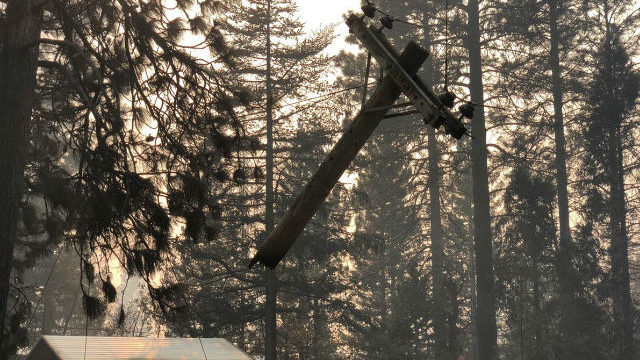 Fire-damaged power pole in Butte County