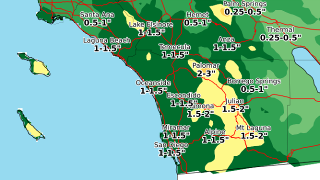 Map showing forecast total rainfall