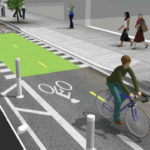 Rendering of bicycle and scooter lanes