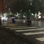 Pouring rain in downtown San Diego