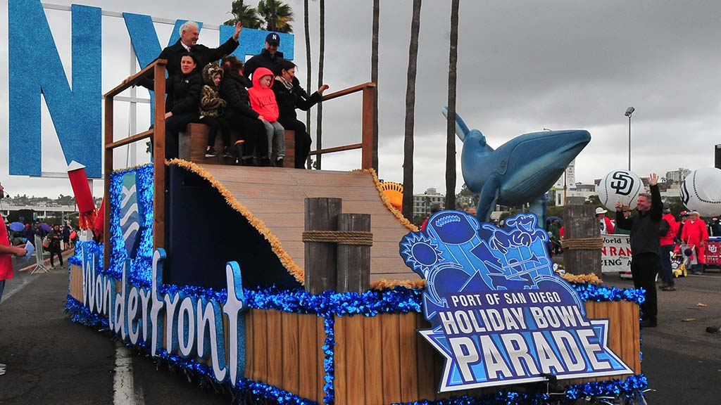 Ron Roberts, as grand marshal, makes final Holiday Bowl Parade appearance as a county supervisor.