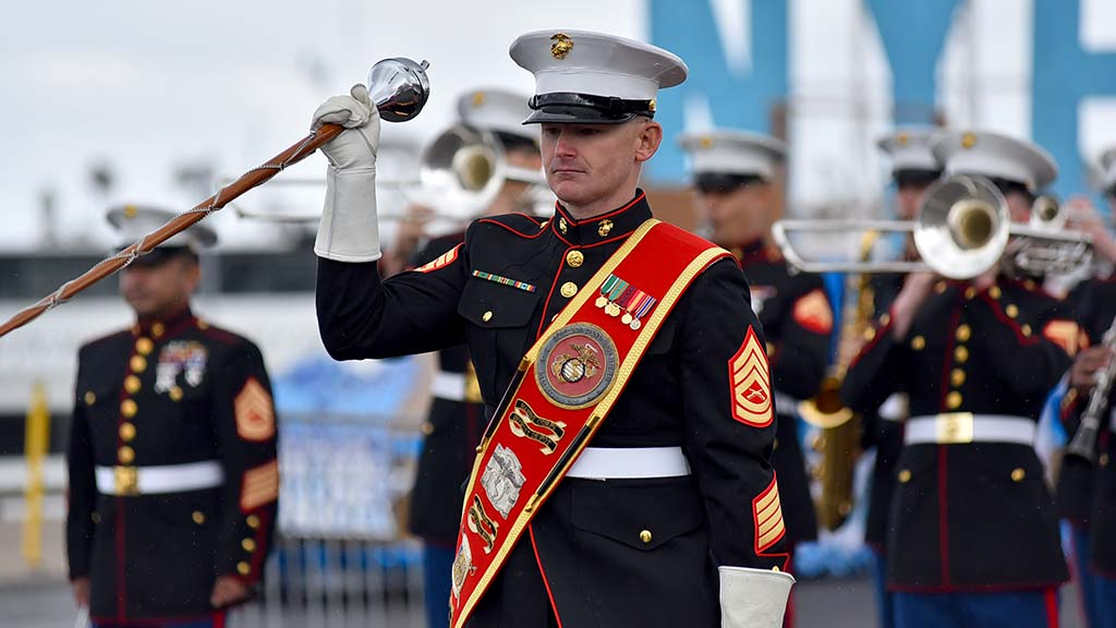 Marine Band San Diego was among the early units at the Holiday Bowl Parade.