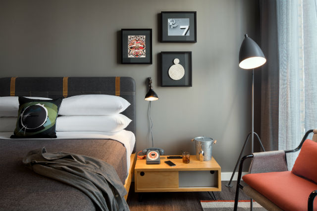 Guest room at the Moxy Hotel