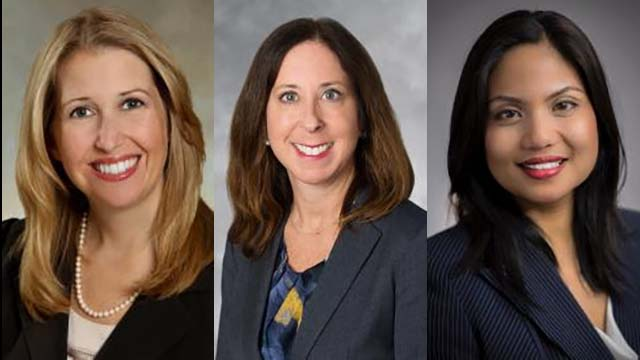 From left to right: Wendy M. Behan, Laura H. Miller and Rohanee Zapanta.