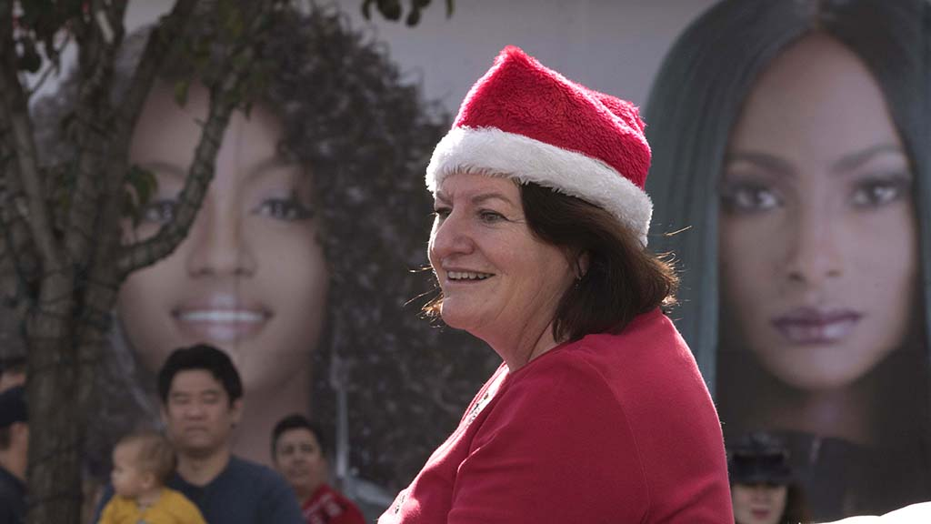 State Sen. Toni Atkins was among political figures in the Toyland Parade.