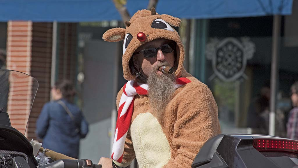 This Rudolph the Red-Nosed Reindeer on a motorcycle has a penchant for premium cigars.