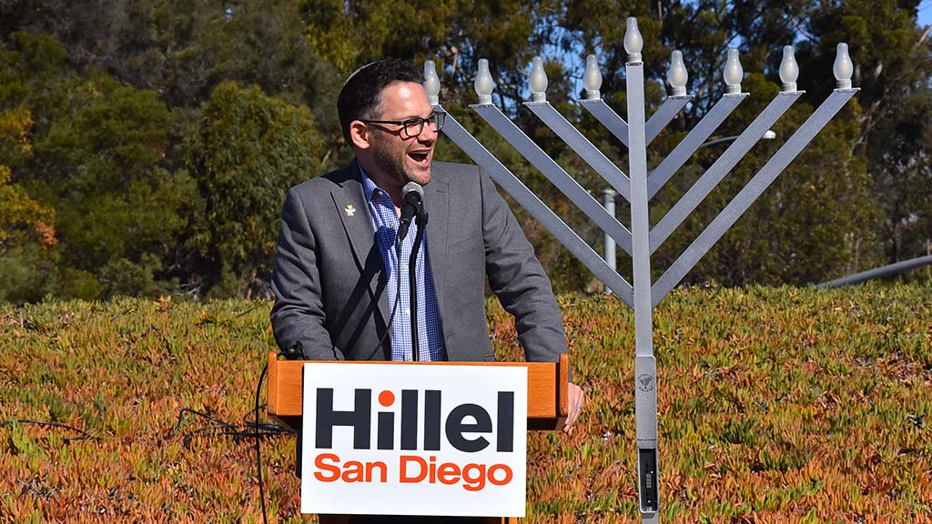 Rabbi David Singer, executive director of UC San Diego Hillel expresses his joy at the progress in building the center.