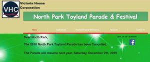 Homepage of toylandparade.com announces parade cancellation.