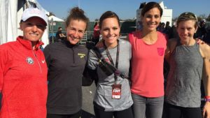 Ashley Gibson (center) posed with (from left) Olympians Shalane Flanagan, Amy Hastings, Kara Goucher and Canada's Sasha Gollish at Rock 'n' Roll San Antonio in 2015.