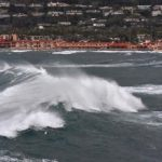 Waves from big swells move into the La Jolla Cove.